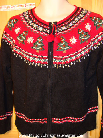 Tacky Ugly Christmas Sweater Nordic with Trees and Bead Bling (f14)
