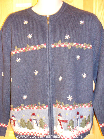 Cheap Blue Festive Christmas Sweater with Snowmen