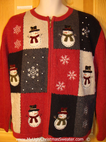 Red Patchwork Snowmen Festive Christmas Sweater