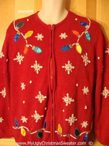 Red Colorful Festive Christmas Sweater with Bulbs