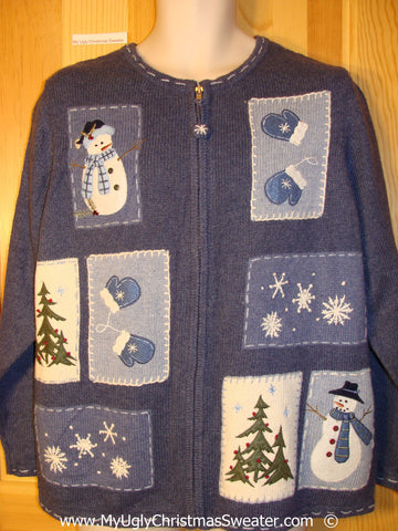 Blue Festive Christmas Sweater with Mittens and Snowmen