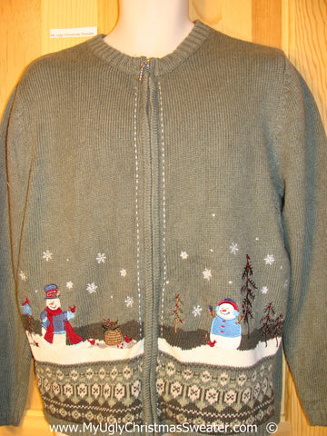 Green Festive Christmas Sweater with Winter Snowmen
