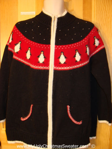 Festive Penguin Two Sided Festive Christmas Sweater
