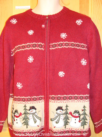 Red Snowman Themed Festive Christmas Sweater
