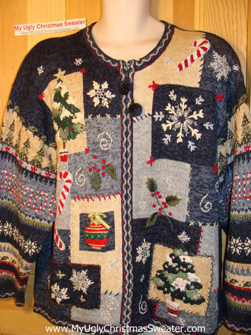 Tacky Ugly Christmas Sweater with Padded Shoulders and Busy Crafty Decorations (f150)