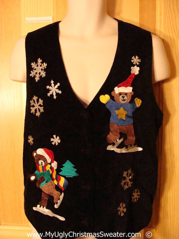 Skating Bears Festive Christmas Sweater Vest