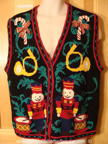 80s Style Festive Christmas Sweater Vest with Nutcrackers