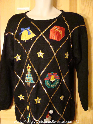Black Bling 80s Festive Christmas Sweater with Padded Shoulders