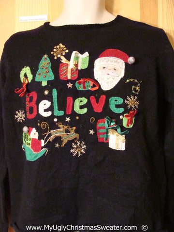 BELIEVE with Santa Festive Christmas Sweater