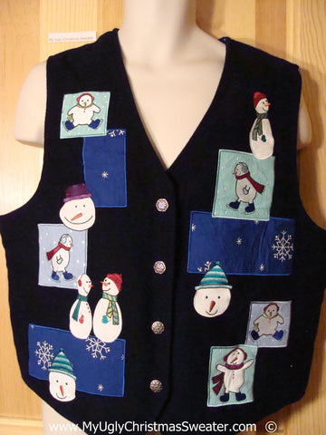 Cheap Festive Black and Blue Christmas Vest