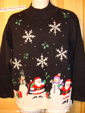 Tacky Ugly Christmas Sweater with a Winter Wonderland Night Sky and Festive Santa and Snowmen (f151)