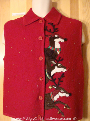 Red Festive Christmas Sweater Vest with Leaping Reindeer