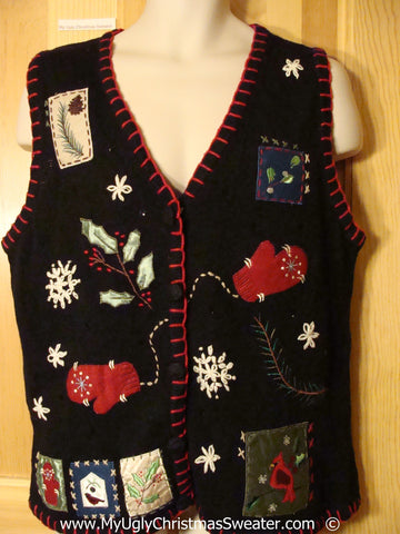 Black Festive Christmas Sweater Vest with Mittens and Trimming