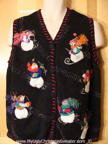 Skiing Snowman Friends Festive Christmas Sweater Vest
