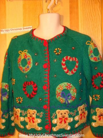 Tacky Ugly Christmas Sweater 80s Gem 2sided Design with Bears and Wreaths (f152)