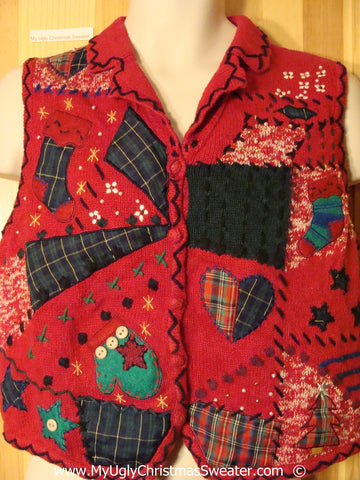 Red Patchwork Plaid Festive Christmas Sweater Vest