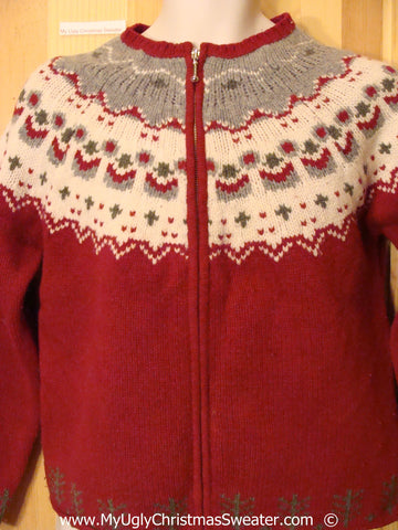 Red Nordic Style Festive Christmas Sweater