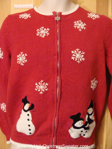 Red Festive Christmas Sweater with Snowmen and Snowflakes