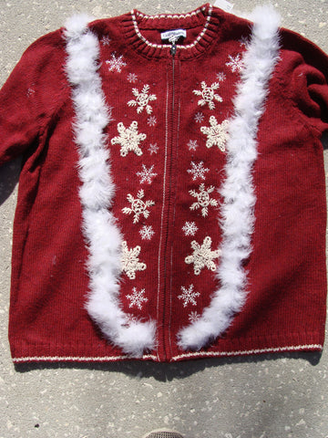 Cheap Red Snowflake Festive Christmas Sweater