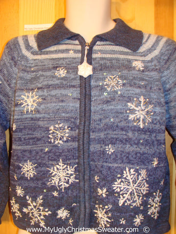 Blue Snowflake 80s Style Festive Christmas Sweater