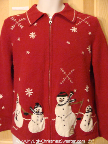 Two Sided Red Festive Christmas Sweater with Snowmen