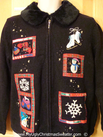 Black Festive Christmas Sweater with Furry Collar & Skates