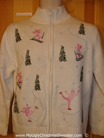 Festive Christmas Sweater iwth Pink Skating Girls