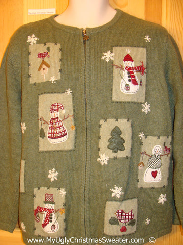 Green Festive Christmas Sweater with Birdhouses
