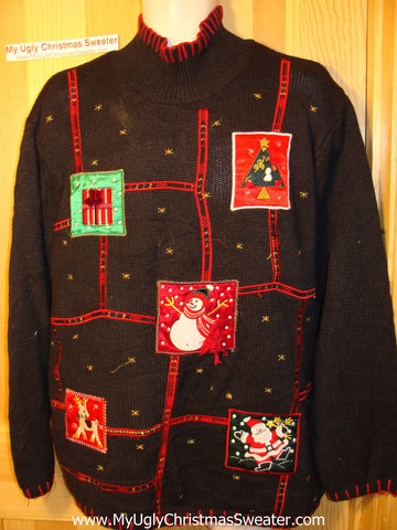 Tacky Ugly Christmas Sweater with Grid of Festive Fun Snowman, Tree, Santa, Reindeer  and Gift  (f153)