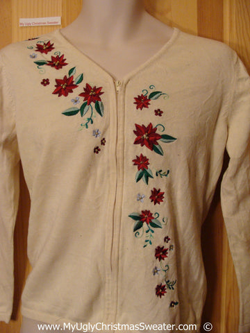 Cheap Ivory Festive Christmas Sweater with Poinsttias
