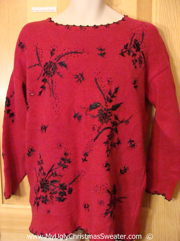 Horrible Red 80s Festive Christmas Sweater with Black Flowers