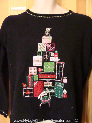 Black Festive Christmas Sweater with Presents Shaped Tree