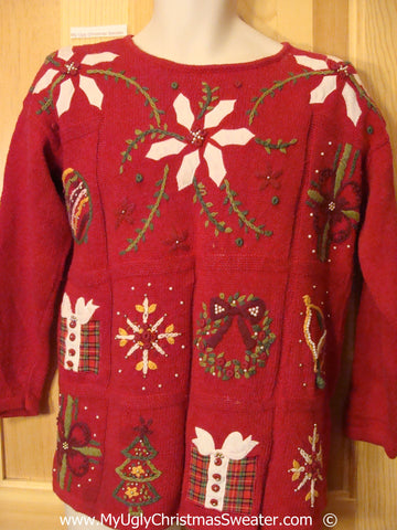 Red 80s Festive Christmas Sweater with White Poinsettias