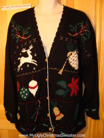 Tacky Ugly Christmas Sweater Classic 80s Acrylic Cardigan iwth Reindeer,  Poinsettia, and Ivy (f154)