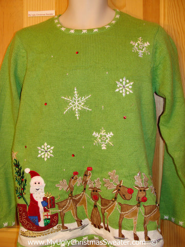 Green Festive Christmas Sweater with Santa and Reindeer
