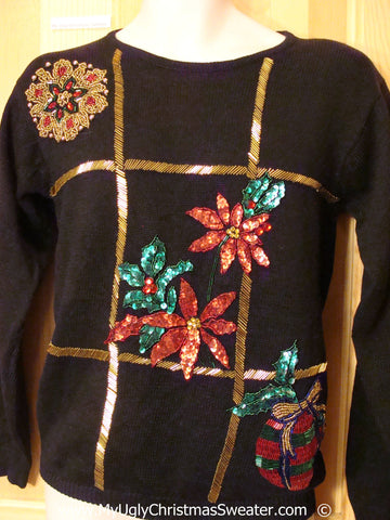 80s Bling Festive Christmas Sweater with Poinsettias