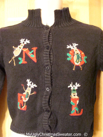 Ridiculous Reindeer Festive Christmas Sweater NOEL