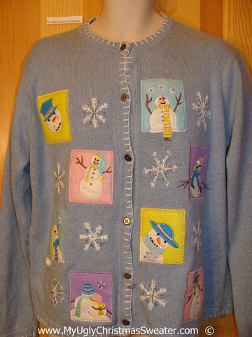 Baby Blue Pastel Festive Christmas Sweater with Snowmen