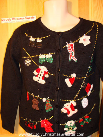 Tacky Ugly Christmas Sweater with a Bling Filled Christmas Clothesline of Decorations (f155)