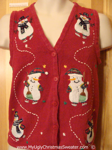Melting Snowman Festive Christmas Sweater Vest