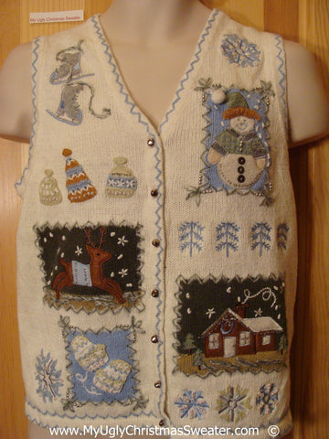Ivory Festive Christmas Sweater Vest with Crafty Blocks
