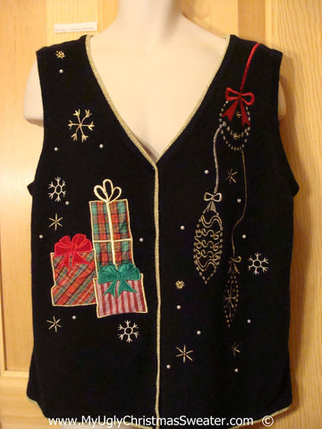 Black Festive Christmas Sweater Vest with Gifts and Ornaments