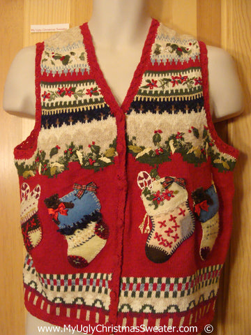 Two Sided Festive Christmas Sweater Vest with Stockings