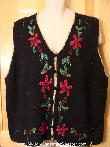 Black Festive Christmas Sweater Vest with Poinsettias