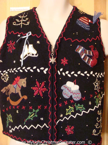 Black Crafty Festive Christmas Sweater Vest Skates