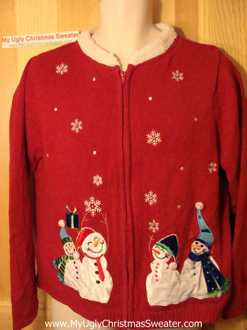 Tacky Ugly Christmas Sweater with a Furry Collar and a Flock of Festive Snowmen (f156)