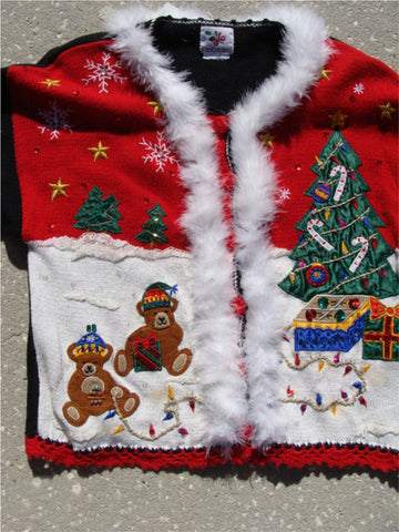 Tacky Ugly Christmas Sweater 80s with Padded Shoulders. Winter Wonderland with Tree, Bears, and Snowflakes (f157)