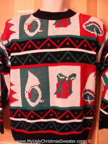 Classic 80s Vintage Red Green Festive Christmas Sweater