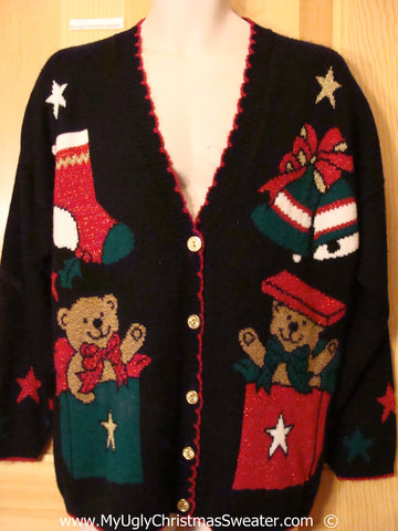 80s Cardigan Festive Christmas Sweater Bears