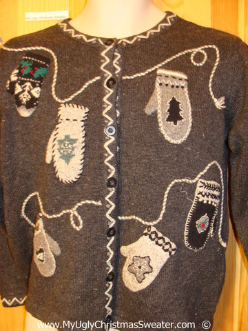 Mitten Themed Two Sided Festive Christmas Sweater
